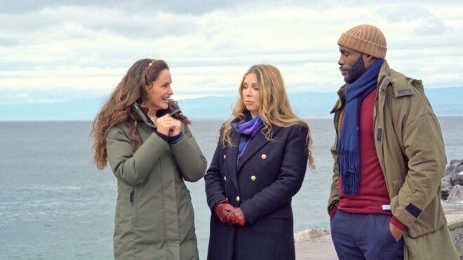 """Émilie, Hélène et Dylan (Les Mystères de l'Amour saison 25, épisode 8 """"Empêchements en série"""")."""