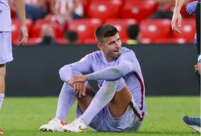 Gerard Piqué à terre contre Bilbao