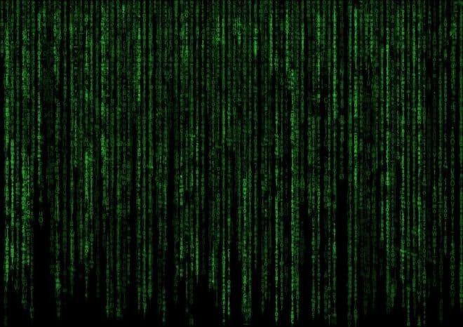 Code vert de la matrice. Image d'illustration.