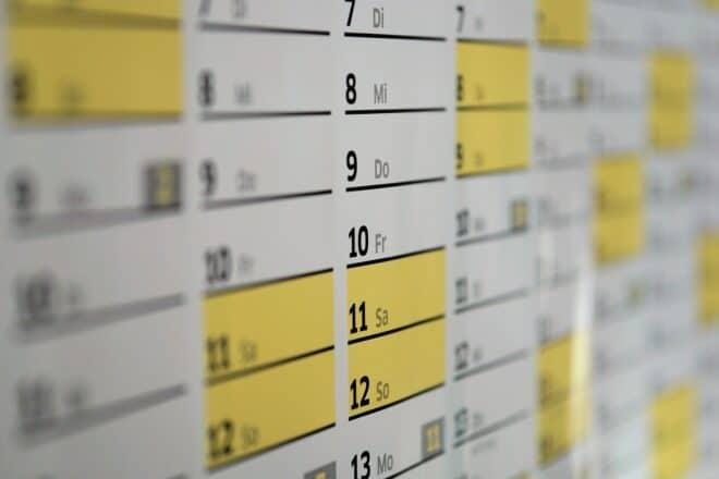 Un calendrier. Image d'illustration.